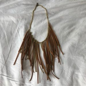 Leather and gold necklace